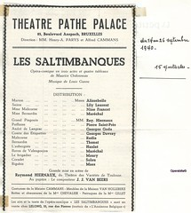 THEATRE PATHE PALACE BRUXELLES, LES  SALTIMBANQUES, 1940 (Operabilia) Tags: opra programme monnaie parys baryton tnor thtreroyaldelamonnaie lessaltimbanques georgesvillier claudepascalperna renlits georgesgoda alissebel londubressy ernestrodia pierresaintprs georgesdavray