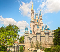 (CptSpeedy) Tags: world park trees sky castle water orlando florida outdoor disney wishes cinderella walt moat turret magickingdom