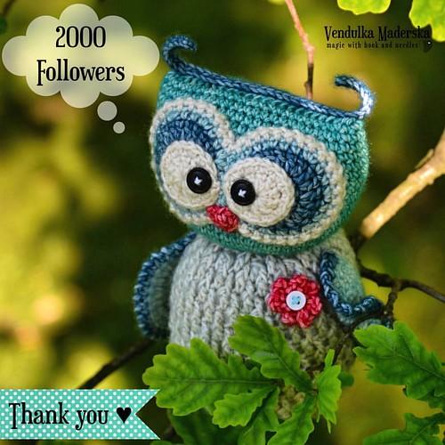 Hiiii, you are soooooo sweet! Thank you very much 😁💜💜💜 #2000followers #thankyousomuch #vendulkam #magicwithhookandneedles #crocheting #ilovemyfans #newowlie #owl #crochetowl #amigurumi #crochetdesigner #crochet