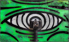 Keep your Eye on the Viewfinder! (NoJuan) Tags: graffiti kodak wallart cameraportrait cameraporn kodakduosix20 olympusep5 1232mmpanasonic effectedcamera