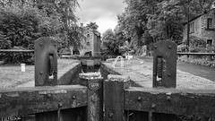 Marple Bridge.jpg (Stephen B Jessop) Tags: mill marplebridge olympus gates mono lock 2016 blackandwhite canal em5mk2