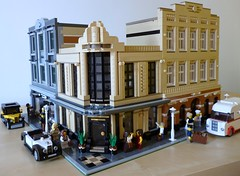 1940s Corner - All together (snaillad) Tags: street building art shop bar corner lego 1940 scene modular bakery vehicle deco 1920 tailors streamline 1930 moc