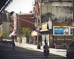 Vodka (mheidelberger2000) Tags: street nyc newyorkcity people urban signs brooklyn decay motorcycle deli fireescape vodka liquors atm bqe trafficsignal liquorstore clintonhill parkavenue brooklynqueensexpressway georgi griffiti