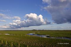 7a.m. Sunlight on Marshside Nature Reserve (Redoux) Tags: sea sky sun reflection bird nature water fence landscape seaside sand nikon marsh southport rspb vr18200 d7000 marshsidenaturereserve