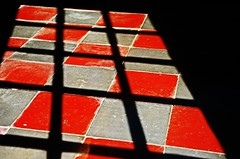 Shapes (Tinina67) Tags: door light red house plant black france cat bench square grey shadows together tiles tina challenge odc seissan tinina67 aumarron