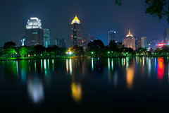 Lumphini Park (Le Velo Indigo) Tags: longexposure blue light red green colors yellow night thailand raw nightshot 5 bangkok sunday surreal clear explore 20 february incredible lumphinipark incroyable secondes mygearandme nikond3100 leveloindigo rememberthatmomentlevel1
