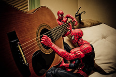Spidey Jam II (sabroso10) Tags: music guitar acoustic strings jam strum spidermanspidermanspideysuperherotoyactionfigure