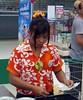 songkran - the uniform (the foreign photographer - ฝรั่งถ่) Tags: summer hair thailand colorful bright lotus bangkok supermarket clip shirts cashier flowery bangkhen laksi