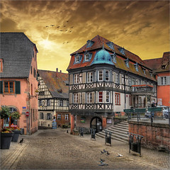 Casque Bleu - Peacekeeper (Jean-Michel Priaux) Tags: sunset france architecture photoshop way nikon village place path alsace ruelle rue hdr barr tourisme pavel colombage d90 priaux mygearandme ringexcellence flickrstruereflection1