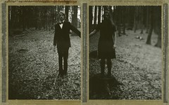 Fusion (Bastiank80) Tags: camera wood trees light bw woman white man black tree film home field analog forest dark polaroid diptych large type instant 4x5 format fusion expired 54 wista polanoid woodswooden