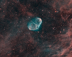 Crescent Nebula Crop (kappacygni) Tags: night stars space nebula astrophotography astronomy phd deepspace cygnus baader nebulosity ngc6888 narrowband crescentnebula starlightxpress eq6 qhy5 sxvrh18 tmb92ss meade127 astro:gmt=20111002t2230 astro:subject=crescent competition:astrophoto=2012