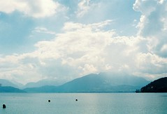(kostyasticky) Tags: city trip blue light sky france alps annecy beach water fog canon 50mm spring europe walks colours air memories nobody filmphoto