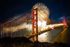 Happy 75th Birthday Golden Gate Bridge (Thomas Hawk) Tags: sanfrancisco birthday bridge fav50 fireworks 10 fav20 goldengatebridge fav30 marinheadlands batteryspencer fav10 fav25 fav100 fav200 fav300 fav40 fav60 fav90 fav80 fav70 superfave 75thbirthdaygoldengatebridge
