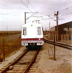 Hong Kong Metro train on test at the Tyne & Wear Metro test track at Middle Engine Lane, North Shields in early 1978 (colin9007) Tags: hongkong metro north engine hong kong prototype lane middle metropolitan shields cammell