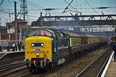 55022 Deltic The York Flyer  Railfest (DB Sigma Photography) Tags: old bridge blue sunset red portrait sky bw orange brown moon man black blur male green nature grass station birds yellow night digital speed train photoshop canon dark notebook coast wings wire workers steel nuts straw sigma rail trains starling 66 class east numbers wires electronics half british network 20 dslr grandcentral 92 60 gravel edit nrm 43 eastcoast electrics doncaster hst beaks shunter eastmidlands deltic ews networkrail railfest trainrailroad starrlings diesil
