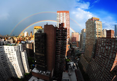 Rainbow over New York City (benalesh1985) Tags: nyc newyorkcity sky ny newyork clouds rainbow cityscape manhattan fisheye upperwestside gothamist uws