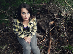 Fiona (Fallenzombie23) Tags: blue tree broken yellow shirt dark hair eyes focus serious branches roots jeans fiona