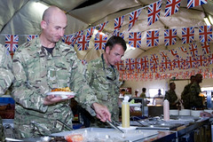 Soldiers Take Part in a Diamond Jubilee Celebration Lunch in Afghanistan (Defence Images) Tags: afghanistan army jubilee royal police her diamond queens british hrh patrol province majesty uniformed aup helmand policeadvisorygroup basepb