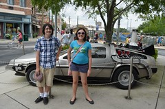 Max, Sophie, Time-Traveling Delorean (steven_and_haley_bach) Tags: max nikon sophie maxwell universalstudios sophia d5100
