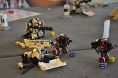 Rushing the Sniper's Nest (Mitten Ninja) Tags: mobile demo comic lego denver frame zero con tabletop mecha mech