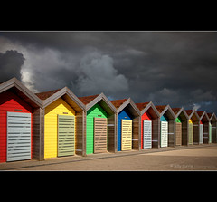 British Summertime (Billy Currie) Tags: summer cloud holiday storm colour beach sunshine coast seaside huts og british summertime colourful thunder britian beachuts