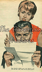 30557657 (The Advertising Archives) Tags: news vintage reading bills letters bad expressions illustrations womens retro story posters british magazines upset johnbull disasters advertisingarchives magazineartwork theadvertisingarchives