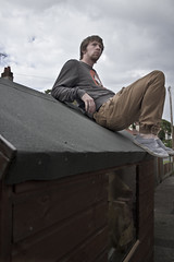 Pondering on the man cave (Daniel Cumisky) Tags: roof selfportrait shed pondering 365days canon7d