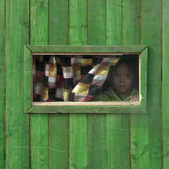 FILLE A LA FENETRE, COREE DU NORD (Eric Lafforgue Photography) Tags: wood color colour green window girl childhood wall youth square kid asia child curtain korea vert jeunesse communism surprise asie coree mur enfant fille windowpane couleur rideau communisme bois fenetre northkorea vitre dprk fillette enfance carre colorpicture squarepicture democraticpeoplesrepublicofkorea mountpaektu samjiyon paneofglass coreedunord rpdc mountbaekdu begaebong republiquepopulairedemocratiquedecoree montpaektu ryanggangprovince stationdeskidebeagaebong begaebongskiresort imagecaree