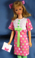 Pink Dotted Dress (Debras Closet) Tags: pink white green francie dollclothes