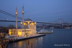 Ortaky (Rolandito.) Tags: bridge blue turkey evening abend twilight dusk trkiye istanbul mosque turquie trkei hour besiktas ortaky moschee