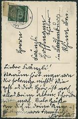 """Archiv E525 """"Unsere Wehrmacht beim berqueren eines Flusses"""" (back), Karte vom 26. Juni 1936 (Hans-Michael Tappen) Tags: 1936 1930s stamps postcard thirdreich ephemera postkarte wehrmacht handschrift briefmarke nazigermany drittesreich poststempel 1930er archivhansmichaeltappen poststempellandaupfalz"""