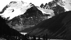 Monochrome Icefields Parkway (Alan FEO2) Tags: trees snow canada mountains outdoors ab alberta rivers views peaks valleys icefieldsparkway highway93 2oef