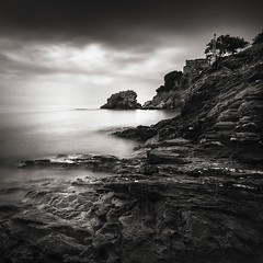 Edge of the coast (ilias varelas) Tags: longexposure light sea sky blackandwhite bw white seascape monochrome clouds landscape mono rocks exposure mood atmosphere greece edge ilias varelas
