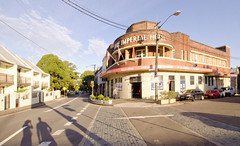 (Bronte Lockwood) Tags: street city people west colour building cars architecture photography lights hotel cafe pub dusk sydney inner newtown marlborough