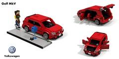 VW Golf Mk V Trendline 5-Door Hatch (lego911) Tags: vw volkswagen golf mkv mk5 trendline hatch 5door 5dr hatchback auto car moc model miniland lego lego911 ldd render cad povray 2003 a5 1k pq35 german germany
