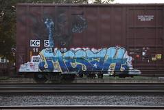 MESAH (TheGraffitiHunters) Tags: street blue red white black art face car yellow train graffiti colorful paint box five crying tracks spray creepy boxcar msg freight benched benching mesah