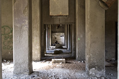 Underneath The Cement Plant (Curtis Gregory Perry) Tags: county plant abandoned oregon support nikon baker decay huntington pillar cement ruin beam column lime rubble d300