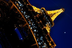 Eiffel Tower On A Moon Lit Night.