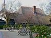 Little Cafe in the Park. (Clare-White) Tags: flowers trees roof chimney cafe chairs cottage tables vondelpark thachedroof