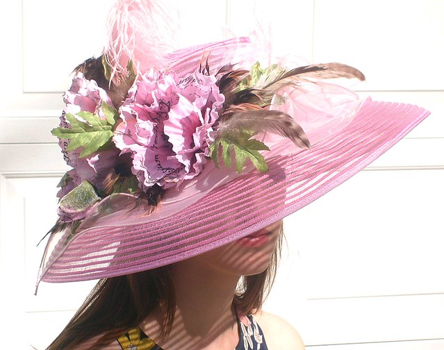 Rosey Pink Poppie KENTUCKY DERBY Hat
