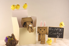 Easter Bunnies, well kinda. (Victoria Armstrong) Tags: yellow easter toy boo danny chicks chocolateegg happyeaster danbo 50mmf18ii revoltech danboard canoneos1000d victoriaarmstrong