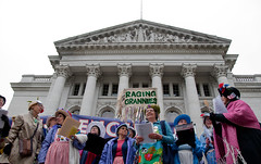 (good canary) Tags: wisconsin stage politics rally protest capitol solidarity madison sing womensrights raginggrannies april28 waronwomen uawow uniteagainstthewaronwomen