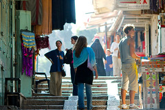 Shopping in Jerusalem's old city (damonlynch) Tags: people shop work market palestine jerusalem places staircase buy sell activities palestinian occupiedpalestinianterritory
