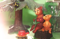 """""""I'm sure she loves that flower..."""" (Hannhell) Tags: bear sun tree green forest toys dad dragonfly son rement explored toyset explore57"""