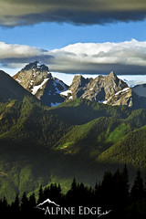 Twin Peaks (AlpineEdge) Tags: trees light usa sun snow canada mountains silhouette vertical clouds forest landscape britishcolumbia bluesky hills alpine summit layers chilliwack borderpeaks
