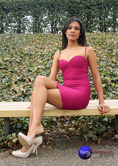 Katrina pink dress on bench. (Terry Sosnowich Photography (3 million views)) Tags: pink white sexy tattoo female bench foot katrina high model sitting dress legs short heels tight shoulder dangling