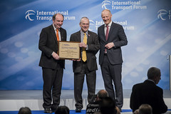 Norman Baker, Peter Hendy and Michael Klkoth at the Transport Achievement Award presentation