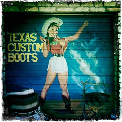 Texas Custom Boots (woody lauland) Tags: austin boots cowgirl female girl hipstamatic iphoneography mural shop square squareformat texas woman youngwoman