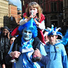 Atmosphere Manchester City Premier League Title victory parade. Fans gather as players and staff of Manchester City prepare to parade the English Premier League Trophy through the city centre from an open-top bus Manchester, England