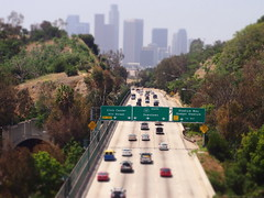 Heading into downtown (Anika Malone) Tags: cars sign walking losangeles tour transportation freeway automobiles 5freeway 110freeway bigparadela bigparadela2012